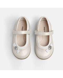Mayoral Girls Shoe Silver Ballet Flats Clover Trim Leather Insole Size 20-25 | Dress Shoes For Infants 41256 Silver
