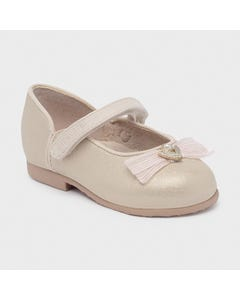 Mayoral Girls Shoe Champagne Shimmer Organza Bow Trim Leather Insole Size 20-25 | Dress Shoes For Babies 41258 Gold