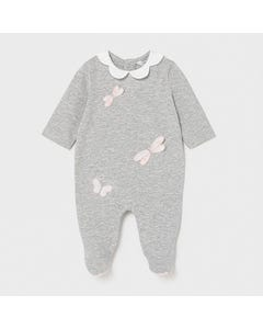 Mayoral Girls Sleeper Grey With Pink Dragonfly Applique & White Petal Collar  Size 0m-18m | Baby Sleepers 1605 Grey