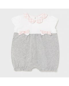 Mayoral Girls Short Romper White & Grey Pink Check Bow & Collar Trim Size 0m-18m | Toddler Rompers 1606 Grey