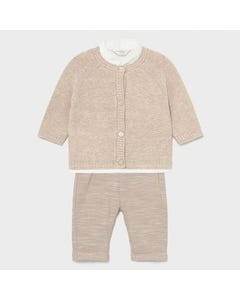 Mayoral Boys 4Pc Cardigan & Shirt & Pant & Bowtie Beige & Cream With Suspender Size 3m-18m | Sweaters For Toddlers 1330 Beige