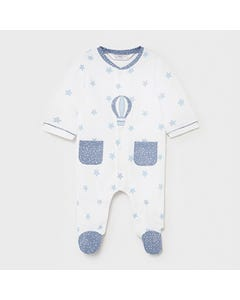 Mayoral Boys Sleeper White Blue Stars & Pockets & Ballon Embroidery Size 0m-18m | Sleepers Kids 1625 White