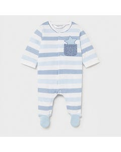 Mayoral Boys Sleeper Blue & White Stripe With Pocket Front Closure Size 0m-18m | Baby Sleeper Gowns 1625 Stripe