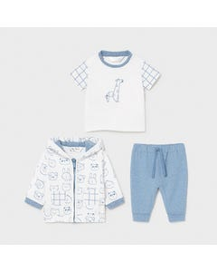 Mayoral Boys 3 Pc Tracksuit White Blue Faces Print Hooded  Size 1m-18m | Toddler Tracksuits 1817 Blue