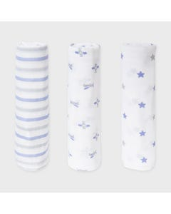 Mayoral Boys 3 Pc Gauzes Receiving Blankets White & Blue Stars & Airplanes & Stripes Size OS | Kids Towels 9870 Blue