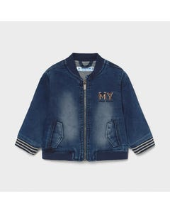 Mayoral Boys Denim Jacket Soft Zip Closure My Embroidery Size 6m-24m | Toddler Sweaters 1406 Denin