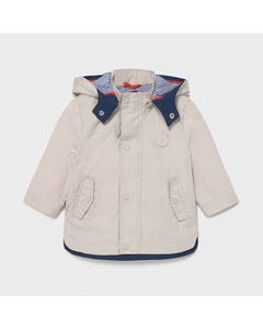 Mayoral Boys Beige Windbreaker Removable Hood Navy  Striped Lining Size 6m-36m | Baby Girl Outerwear 1412 Beige