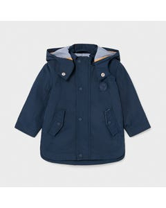 Mayoral Boys Navy Windbreaker Removable Hood Striped Lining Size 6m-36m | Baby Girl Outerwear 1412 Navy