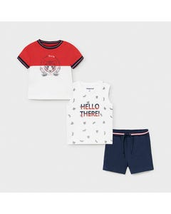 Mayoral Boys 3 Pc Tshirt Tank & Short Set Tiger Print Red White & Navy Size 6m-24m | Baby Two Piece Dresses 1668 Red