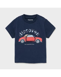 Mayoral Boys T Shirt Navy Red Play Car Short Sleeve Discover Size 6m-24m | Infant Shirts 1006 Navy