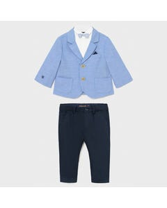 Mayoral Boys 4 Pc Blazer Shirt Pant & Bowtie Blue & Navy Linen Size 6m-36m | Baby Co Ord Sets 1402 Blue