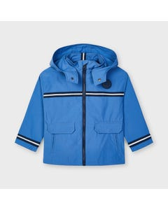Mayoral Boys Blue Windbreaker Removable Hood Navy Stripe Trim Size 2-9 | Baby Boys Outerwear 3420 Blue