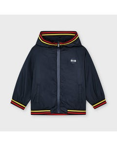 Mayoral Boys Windbreaker Navy Hooded Yellow & Red Striped Trim Size 2-9 | Outerwear For Boys 3415 Navy