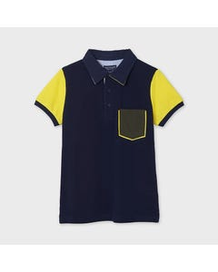 Mayoral Boys Polo Top Navy Yellow Short Sleeves Green Pocket Size 8-18 | Toddler Boy Shirts 6110 Navy