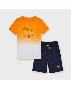 Mayoral Boys 2 Pc Short Set Peach & Navy Tie Dye Surf Print Size 8-18   Boys Two Piece Outfits 6625 Pink