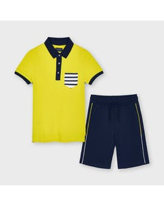 Mayoral Boys 2 Pc Polo Top & Shorts Yellow & Navy Knit Striped Pocket Size 8-18 | Boys 2 Piece Outfits 6631 Yellow