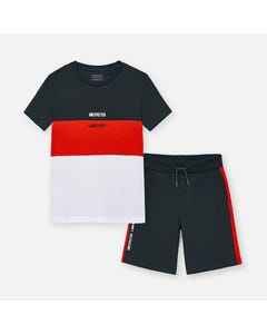 Mayoral Boys 2 Pc Short Set Black Red & White Top Black & Red Short Size 8-18 | Boys 2 Piece Outfits 6623 Black