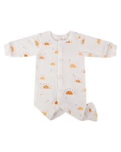 Petit Lem Girls Sleeper White Yellow Sun Print Front Closure Size NB-12m | Sleepers 36030 White