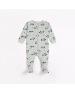 Petit Lem Boys Sleeper Light Green Blue Car Print Size 6m-24m | Sleepers 64039 Green