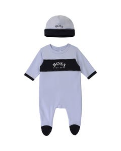Hugo Boss Boys 2 Pc Sleeper & Hat Light Blue Navy Trim Size 1m-18m | Sleepers 98309 Blue