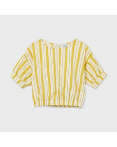 Mayoral Girls Shirt White & Yellow Stripe Poplin Loose Fit Short Sleeve With Cuff Size 8-18 | Shirts 6176 Yellow