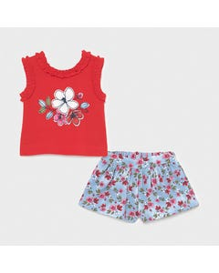 Mayoral Girls 2 Pc Short Set Red Top & Blue & Red Floral Printed Short  Size 6m-36m | Girls Sets 1228 Red