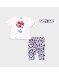 Mayoral Girls 3 Pc Top & Legging & Headband White & Blue Floral Printed Legging Size 6m-36m | Girls Sets 1713 White