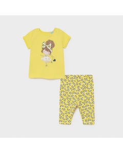 Mayoral Girls 2 Pc Top & Leggings Set Yellow & Brown Paw Print Legging Girl Print Size 6m-36m | Girls Sets 1714 Yellow