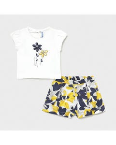 Mayoral Girls 2 Pc Short Set White Embroidered Flower & Navy White & Yellow Printed Size 6m-36m | Girls Sets 1234 White