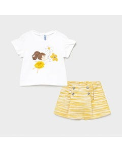 Mayoral Girls 2 Pc Tshirt & Short White & Yellow Ballerina & Flower Print & Stripe Size 6m-36m | Girls Sets 1236 White