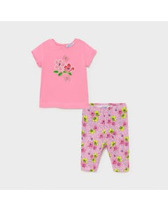 Mayoral Girls 2 Pc Top & Legging Pink Embroidered Flowers & Printed Legging Size 6m-36m | Girls Sets 1714 Pink