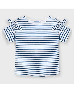 Mayoral Girls Tshirt White & Blue Stripe With  Shoulder Bow Trim Size 2-9 | Shirts 3009 Stripe