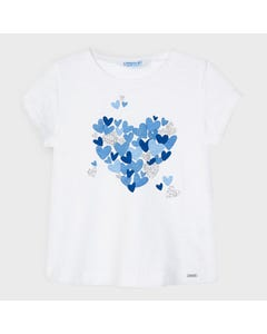 Mayoral Girls Tshirt White Blue Heart Print Size 2-9 | Shirts 3009 White