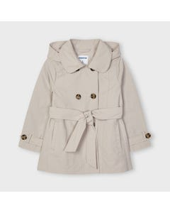 Mayoral Girls Trench Coat & Belt Beige Removable Hood  Size 2-9 | Outerwear 3487 Beige