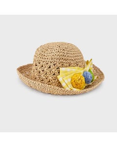 Mayoral Girls Straw Hat Yellow Check Bow & Flowers Trim Size 51-54 | Hats 10081 Yellow
