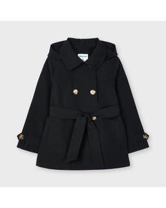 Mayoral Girls Trench Coat & Belt Black Removable Hood Size 2-9 | Outerwear 3487 Black