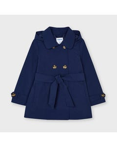 Mayoral Girls Trench Coat & Belt Navy Removable Hood Size 2-9 | Outerwear 3487 Navy