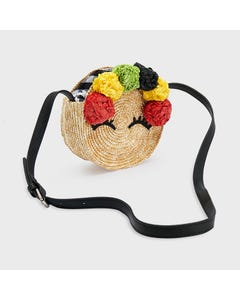 Mayoral Girls Straw Purse Black Yellow Red Flowers Trim Size OS | Purses 10077 Black