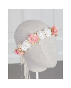 Abel & Lula Girls Flower Crown White & Pink Flowers Size OS | Toddler Girl Hair Accessories 5455 Pink