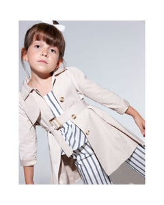 Abel & Lula Girls Trench Coat Beige With Belt & Pleated Back  Size 4-14 | Baby Coats 5327 Beige