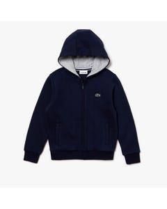Lacoste Boys Sweat Cardigan Navy Hoodie Zip Closure Size 2-16 | Toddler Boy Sweaters SJ2903 Navy