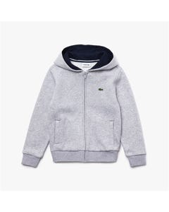 Lacoste Boys Sweat Cardigan Grey Hooded Zip Closure Size 2-16 | Toddler Boy Sweaters SJ2903 Grey