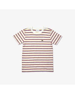 Lacoste Boys Tshirt White With Red Blue & Yellow Stripe Short Sleeve Size 2-16 | Baby Boy Shirts TJ0310 Stripe