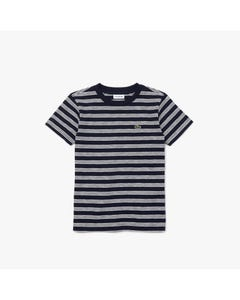 Lacoste Boys Tshirt Navy With White Stripes Short Sleeve Size 2-16 | Boys School Shirts TJ0310 Stripe