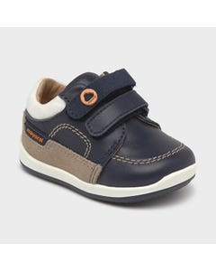 Mayoral Boys Shoe Navy With Tan Suede Velcro Straps Size 19-23 | Baby Shoes 41276 Navy