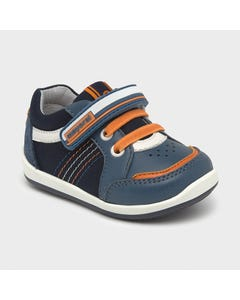 Mayoral Boys Shoe Navy Leather & Suede Orange Trim Size 19-23 | Toddler Shoes 41278 Navy