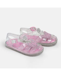 Mayoral Girls Sandal Pink & Clear  Top Butterfly Trim Beach Crawler Size 19-30 | Baby Sandals 41308 Pink