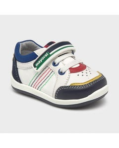 Mayoral Boys Shoe White & Multi Colored Trim Sport Shoe Size 19-23 | Infant Shoes 41278 White