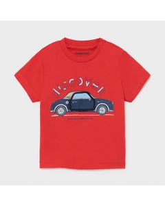 Mayoral Boys Tshirt Red Blue Play Car Short Sleeve Size 6m-36m | Infant Shirts 1006 Red