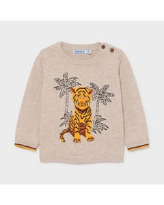 Mayoral Boys Sweater Beige With Yellow Tiger Print Blue Palm Trees Size 6m-36m | Toddler Sweaters 1339 Beige